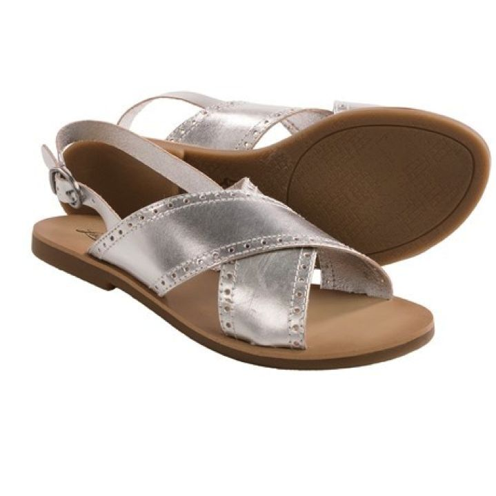 Lucky Brand - NIB $69 - Leather 9.5 - Silver Metallic Leather - Sandals Shoes 2c28f0
