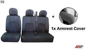 2-1-BLACK-SOFT-FABRIC-SEAT-amp-ARMREST-COVERS-SET-FOR-FORD-TRANSIT-TRANSIT-CUSTOM