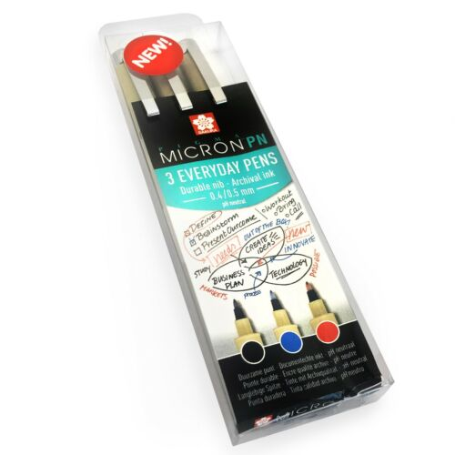 Sakura Pigma Micron PN Pens Black 3 Everyday Pens 0.4//0.5mm Red Blue