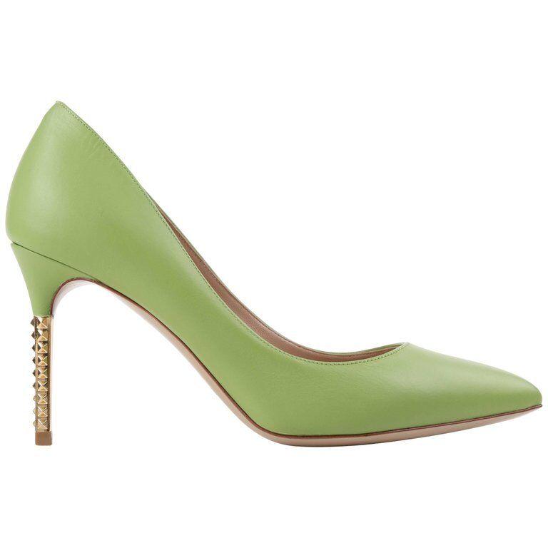 VALENTINO Garavani Grün Apple Leather Gold  Rockstud  Heel Pointed Toe Pumps