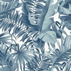 Carta Da Parati Palme.Dettagli Su Carta Da Parati Tropicale Palma Foglia Blu Bianco Una Strada Stampe Incollare Il Muro Mostra Il Titolo Originale
