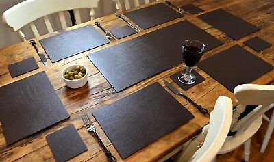 UK 6 PLACEMATS 6 COASTERS COMPLETE GOLD LEATHER DINING TABLE SET 1 RUNNER