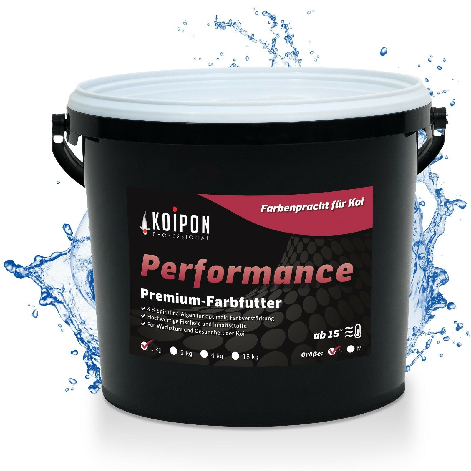 Koifutter PESCE MANGIME 3mm koipon ® Performance S con Spirulina PER PESCI ROSSI CARPE KOI