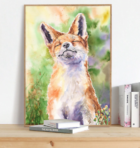 Details About Fox Watercolor Print Cute Gift Nursery Woodland Decor