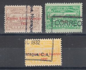 Nicaragua-Sc-C37-C39-used-1939-red-2-line-CORREO-AEREO-INTERIOR-ovpts-F-VF