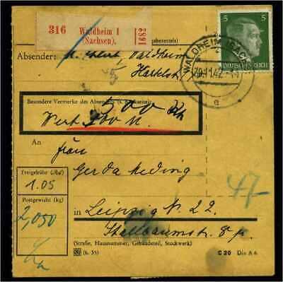 Sparen Sie 50-70% 114672 Geschickt Paketkarte 1942 Waldheim Siehe Beschreibung