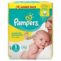 Pampers Baby Nappies Size 1 (total 72 Nappies)