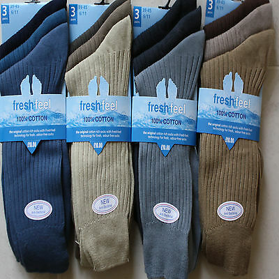 12  pairs  100% pure cotton mens socks size 6-11  FRESH FEEL  new coloured