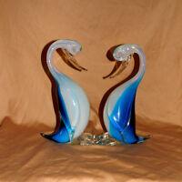 Pair of Beautiful Vintage Mid-Century Murano Seguso Opalescent  Alabastro Ducks