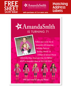 8 American Girl Doll Birthday Party Personalized Invitations With