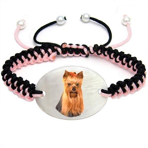 Yorkshire Yorkie Terrier Natural Mother Of Pearl Adjustable Knot Bracelet BS292