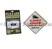 NOVELTY ELDERLY DRIVER CAR SIGN EMERGENCY PANTS OLD AGE GIFT DAD BIRTHDAY