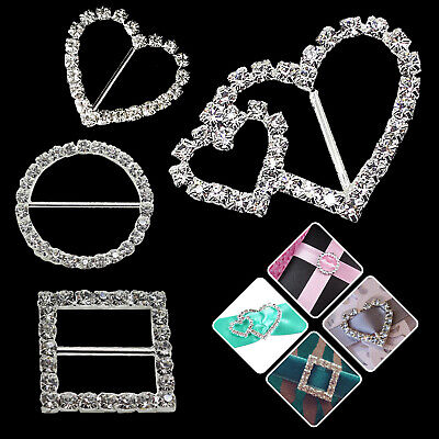 15mm x 22mm Diamante Round Buckles Rhinestone Ribbon Slider Embellishments DIY