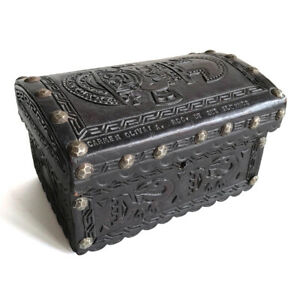 Vintage-Peruvian-Embossed-Leather-Presentation-Box-with-Sican-Tumi-Motif-20th-C