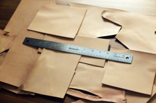 LARGE size 1lb Leather Scraps Vegetable Tanned Leather Tooling Remnants