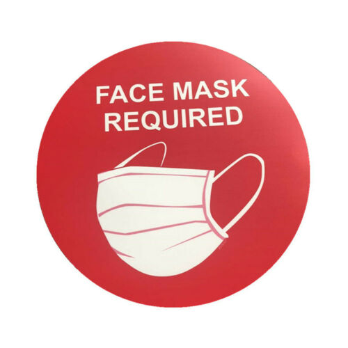 Face Mask Required Sign Wall Window Glass Signage Public Safety Decal Rounded