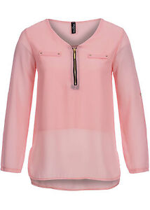 50-OFF-B15010666-Damen-Madonna-Bluse-Turn-Up-Zipper-2fake-pockets-rose-rosa
