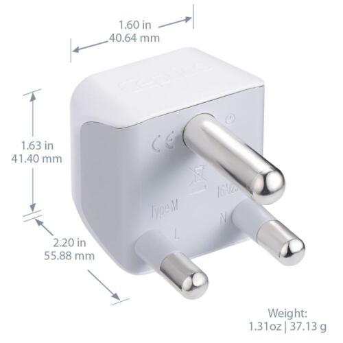 CT-10L, 3 PK Ceptics USA to South Africa Travel Adapter Plug Type M