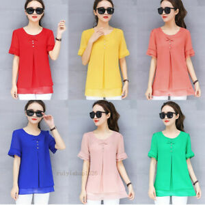 New-Plus-Chiffon-Top-Women-Ladies-Summer-Short-Sleeve-Loose-Tunic-T-Shirt-Blouse