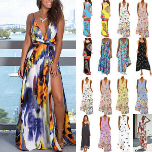Details about Womens Boho Maxi Dress Loose Sleeveless Summer Holiday Long  Sundress Plus Size