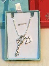 21st Birthday Gift Necklace Milestone Key Charm, Gift Boxed, handmade, FREEPOST