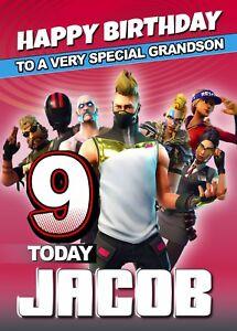 FORTNITE Personalised Birthday Card Fortnight Game Online Battle XBox Gamer MMO