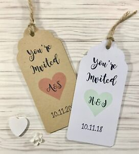 Image Is Loading Rustic Heart Tag Wedding Invitation Set In White