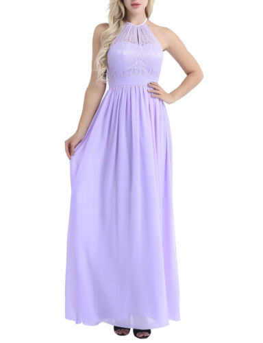 New Women Lace Chiffon Halter Bridesmaid Dress Prom Gown Wedding Party Dresses