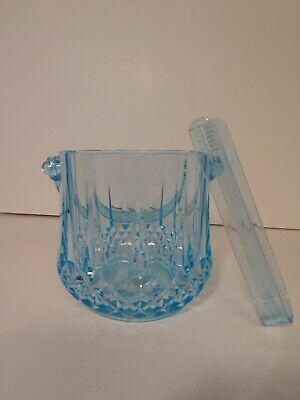 Diamond Embossed Ice Bucket Tong Set Blue Ebay