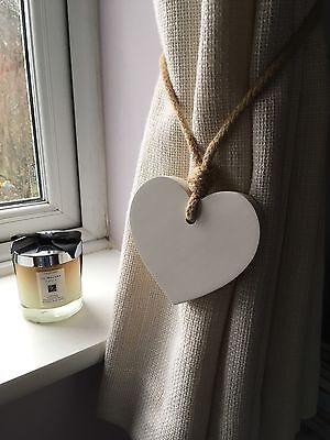 Pair Of Handmade Shabby Chic White Small Heart Curtain Tie Backs With Jute Rope Ebay