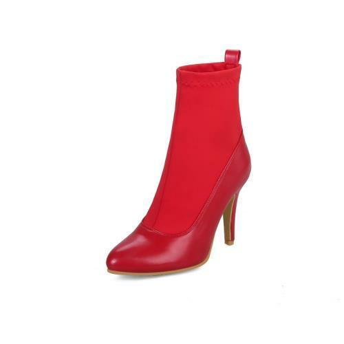 Details about  /Women Wedding Warm Stilettos High Heel Pointy Toe Pull On Ankle Boots 46//47//48 D