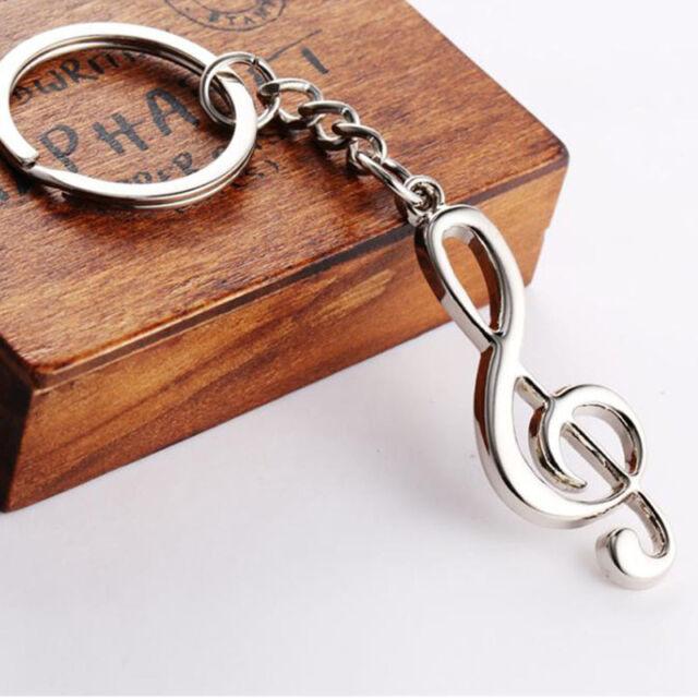 1PC Creative Fashion Music Symbol Metal Keychain Ring Keyring Key Fob Funny Gift