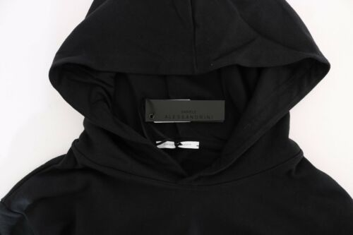 NEW $200 DANIELE ALESSANDRINI Sweater Black Gym Casual Hodded Cotton Mens s S