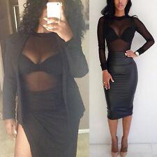 Top Blouse Pullover Fashion Club Wear Hot Style Transparent Durchsichtig XL NEU