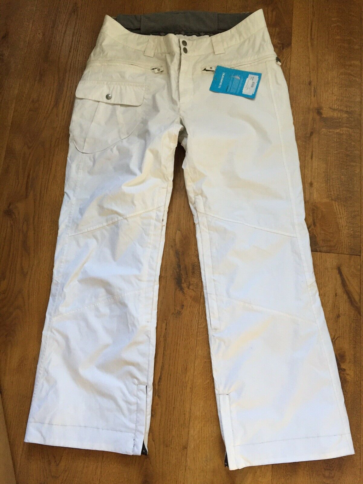 "WOMENS SURFANIC XL SIZE 16 34-36"" WHITE SKI TROUSERS SALOPETTES SNOWBOARD PANTS"