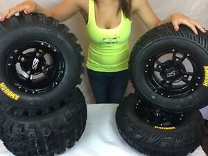 4-NEW-Honda-TRX450R-amp-TRX400EX-ITP-SS112-Black-RIMS-amp-Ambush-Tires-Wheels-kit