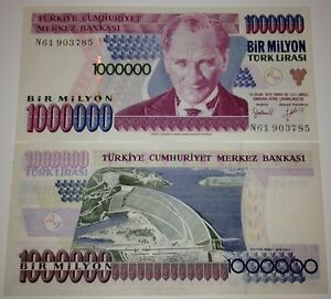 P-213 TURKEY 1000000 1,000,000 1 MILLION LIRA 1970 UNC 2000 U SERIAL