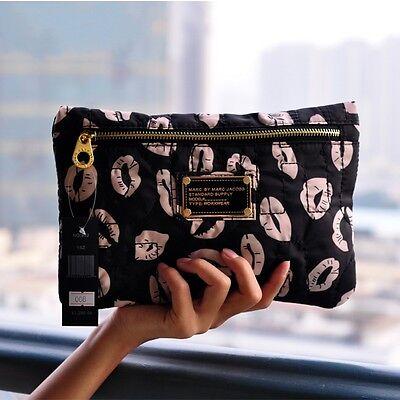 Marc by Marc Jacobs nylon Black & Milky Lips casual clutch cosmetic bag handbag