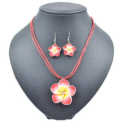 Women's Summer Beach Hawaiian Costume Frangipani Flower Necklace&Earrings Sets