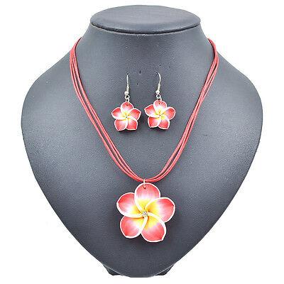 Women's Summer Beach Hawaiian Costume Frangipani Flower Necklace&Earrings Sets