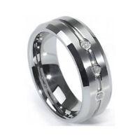 Nice Men's 8mm Tungsten Carbide Wedding Ring Band Cubic Zirconia Size 9-12