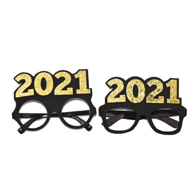 2PCS 2021 Plastic Glasses Happy New Year's Eve Glasses Party Photo Prop Supplies | eBay