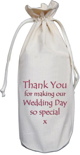 Cotton Wine Bottle Bag Pink Favour Thank You For Making Wedding Day Special