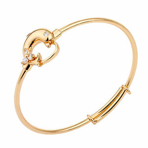 POPULAR  BABY GIRLS 18K GOLD FILLED CUBIC ZIRCONIA  ADJUSTABLE DOLPHIN BANGLE