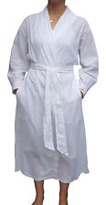 Medium Cute White Sheer Cotton Dotted-Swiss Eyelet Wrap Robe Bathrobe Made-USA
