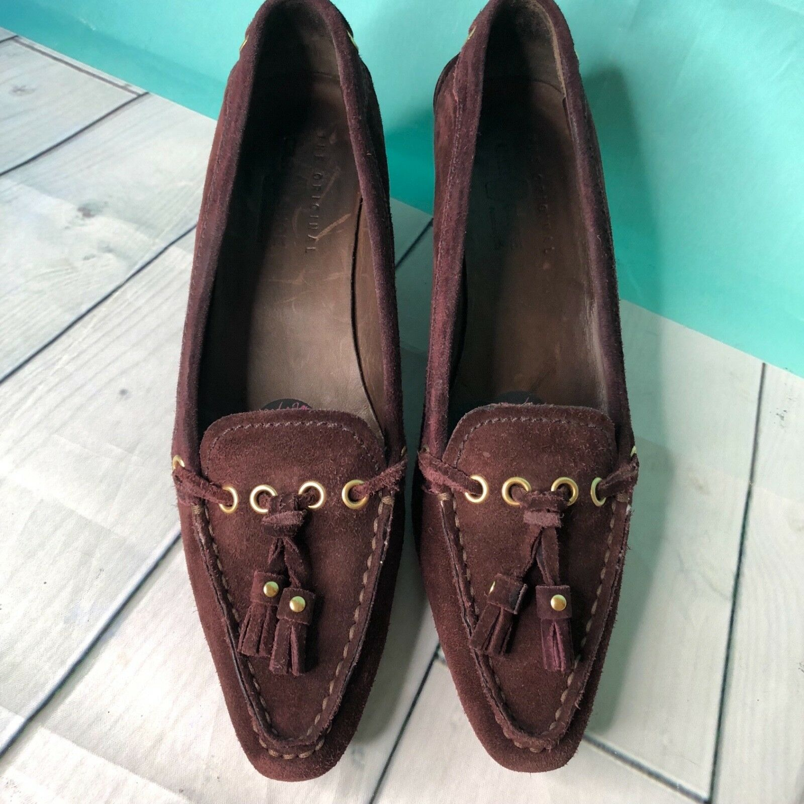 The Original Car schuhe braun Suede Bow Accent Almond Toe Toe Toe Heeled loafers sz 7 601a6e