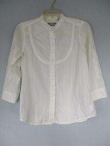 Liz-Claiborne-Women-039-s-Size-S-100-Cotton-White-3-4-Sleeve-Button-Front-Blouse
