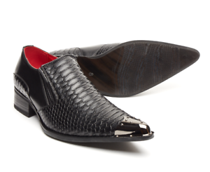 Men/'s Italian Shoes Black Crocodile style Leather Lined Metal Pointed Rock Benit