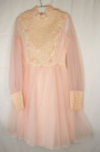 Vtg-60s-70s-Nadine-sz-9-Pink-Chiffon-floral-lace-prom-formal-gown-costume-dress