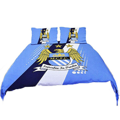Offical Manchester City Football Club Reversaible Double Bed Duvet Set Cover